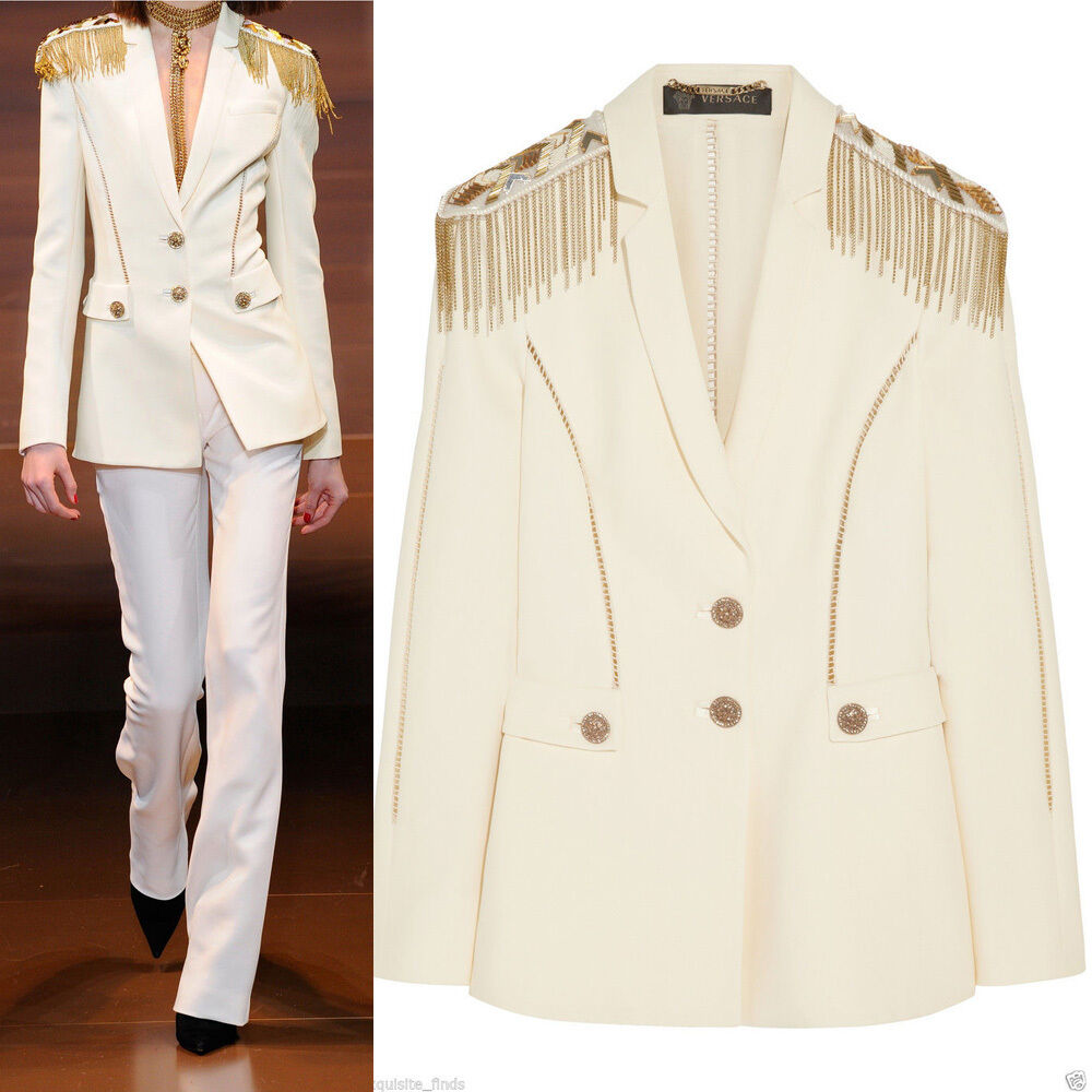 New Versace Embellished silk-crepe blazer 38 - 2 as seen on Jen