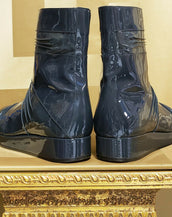 F/W 2010 LOOK#18 GRAY PATENT LEATHER BOOTS size 45 -12