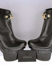 New VERSACE TRIPLE PLATFORM BLACK LEATHER BOOTIE BOOTS 35.5 - 5.5
