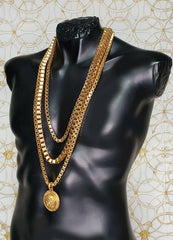 S/2013 Look # 39 VERSACE 24K GOLD PLATED MEDUSA TRIPLE CHAIN
