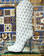 Fall/2013 L# 1 NEW VERSACE WHITE LEATHER STUDDED WESTERN STILETTO Boot 40 - 10