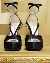 NEW VERSACE BLACK SATIN PUMP PLATFORM SANDALS 40 -10
