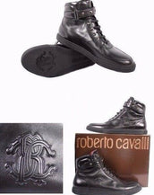 NEW ROBERTO CAVALLI BLACK LEATHER STUDDED HIGH TOP SNEAKERS 44.5 - 11.5