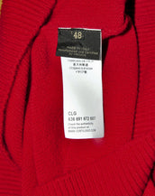 $3,050 NEW VERSACE RED JEWEL EMBELLISHED 100% CASHMERE CREWNECK SWEATER 48 - M