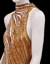 Vintage Bob Mackie Gold Fully Beaded Gown Dress