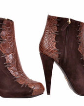 NEW ROBERTO CAVALLI SUEDE & ALLIGATOR LEATHER ANKLE  BOOTS    38 - 8