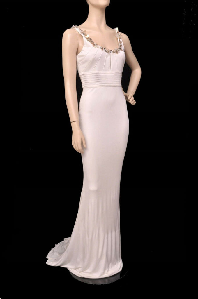 $4,745 NEW VERSACE CRYSTAL EMBELLISHED WHITE LONG DRESS GOWN  42 - 6