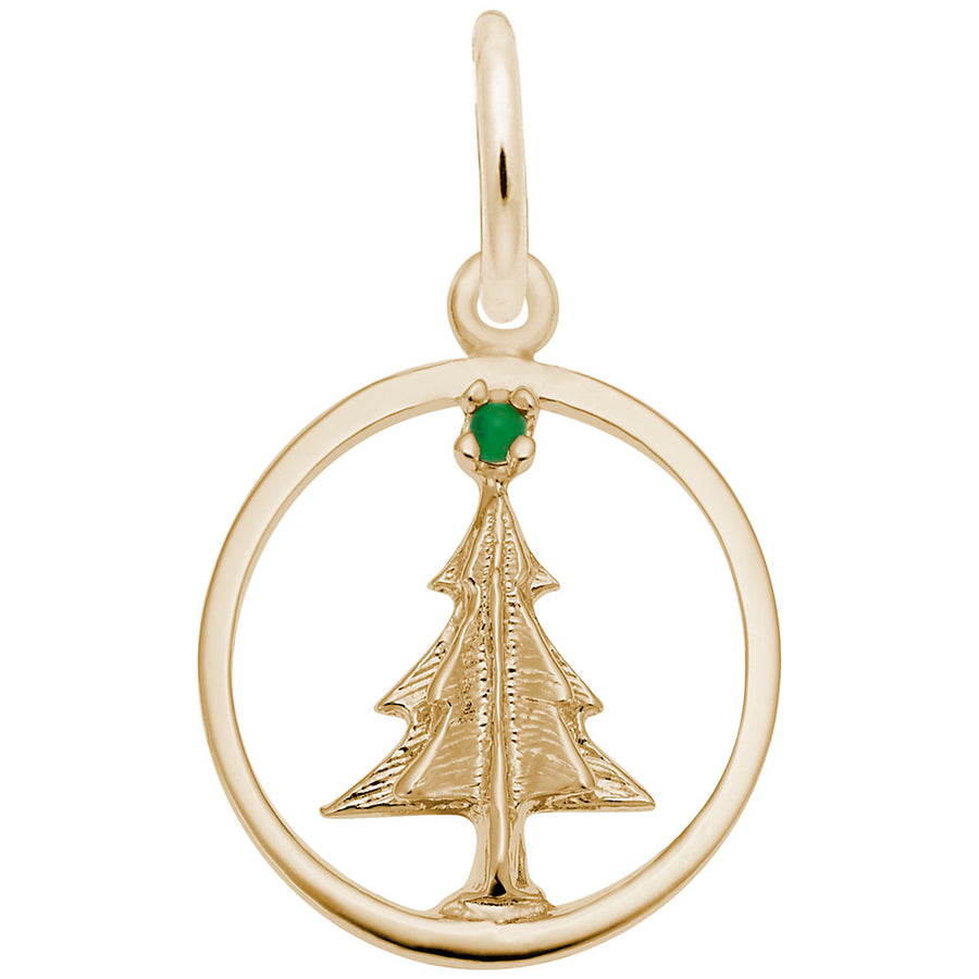 Rembrandt Charms - Christmas Tree Circle Charm - 1218