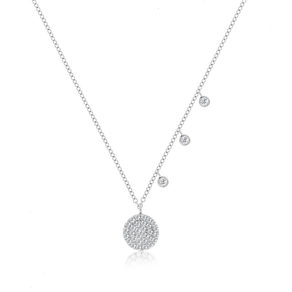 White Signature Disc Necklace - BJ1N7176, Necklace, Birmingham Jewelry - Birmingham Jewelry