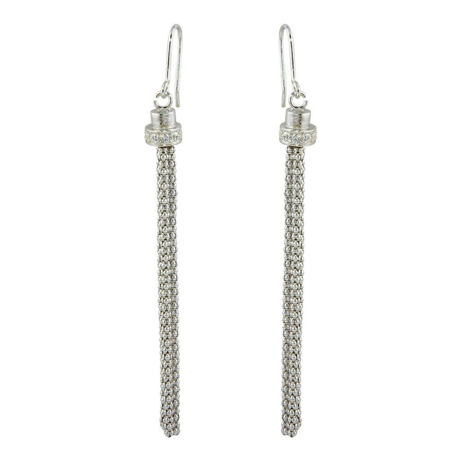 Silver Jewelry Tassel Drop Earrings with CZ Silver Earrings - Birmingham Jewelry