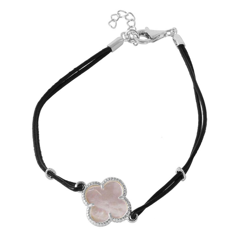 Mother of Pearl Clover on Leather Strap Bracelet