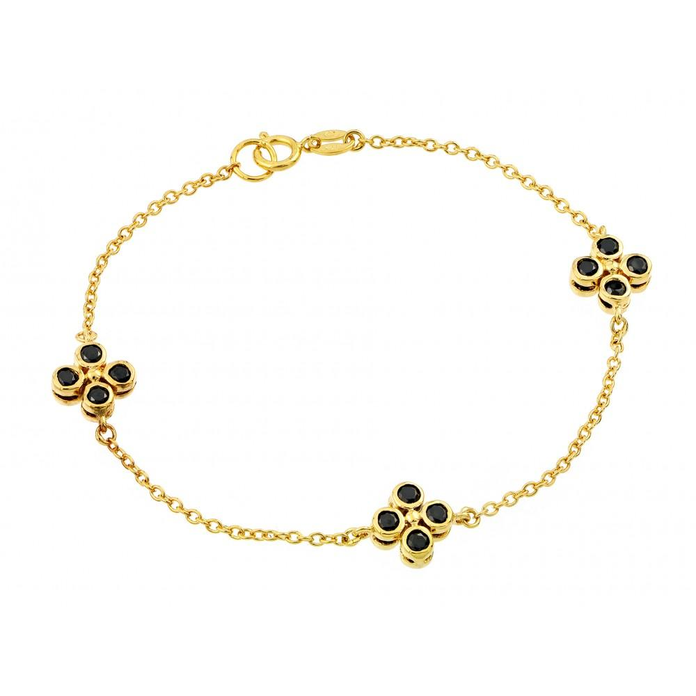 Three Clover Black CZ Inlay Bracelet