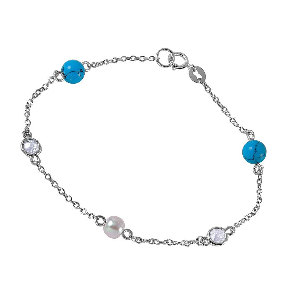 Turquoise Beads, Synthetic Pearl and CZ