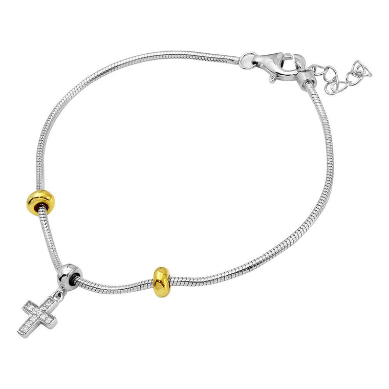 Snake Bracelet With CZ Cross Charm