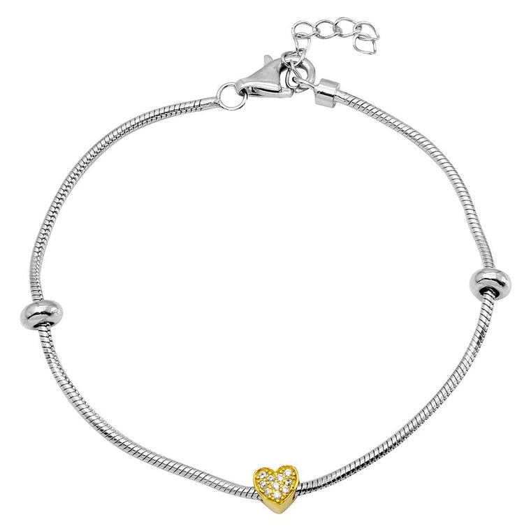 Snake Bracelet With Gold Plated CZ Heart Charm