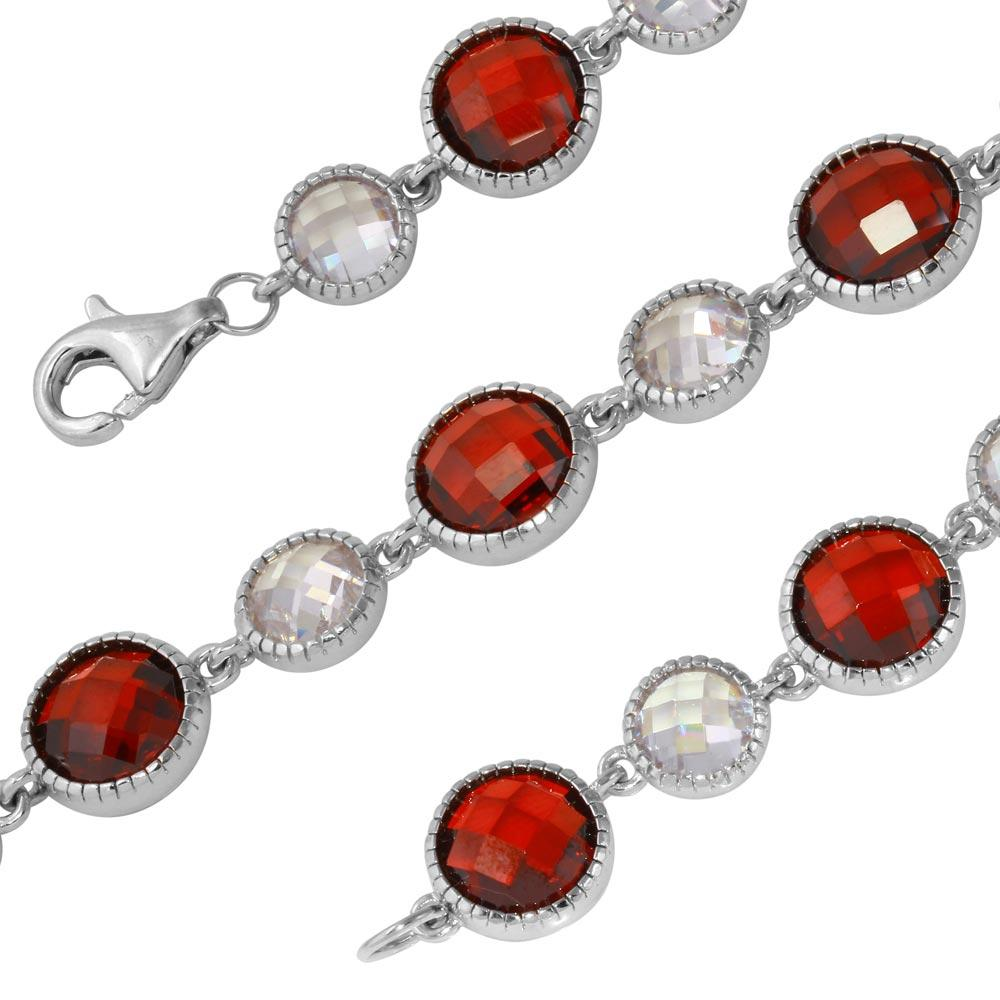 Alternating Round Red & Clear CZ Tennis Bracelet - Birmingham Jewelry