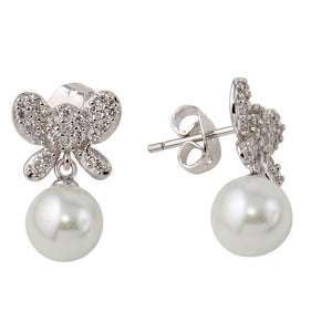 Butterfly Earrings with Dangling Synthetic Pearl - Birmingham Jewelry