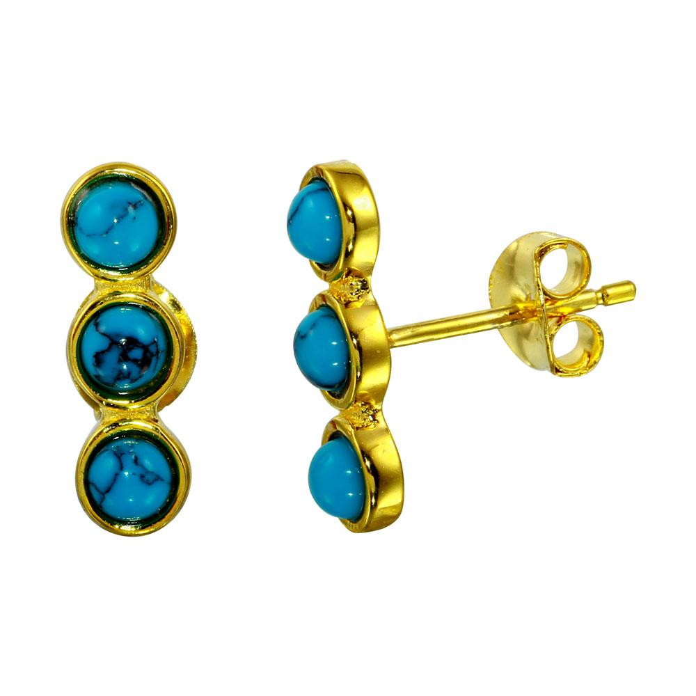 3 Round Turquoise Earrings - Birmingham Jewelry