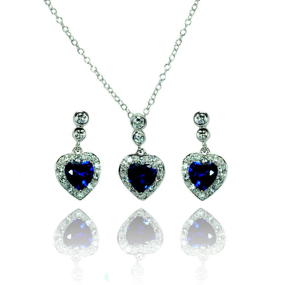 Round & Heart Shaped Clear & Blue Cz Set