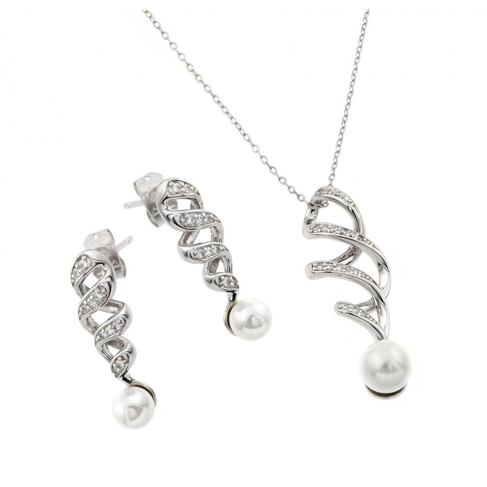 Pearl Drop Clear Inlay Twist Cz Set