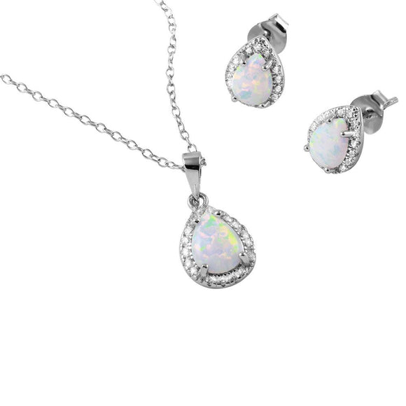 Pear Opal Clear Cz Set