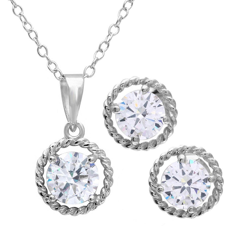 Rope Border Cz Set - Birmingham Jewelry