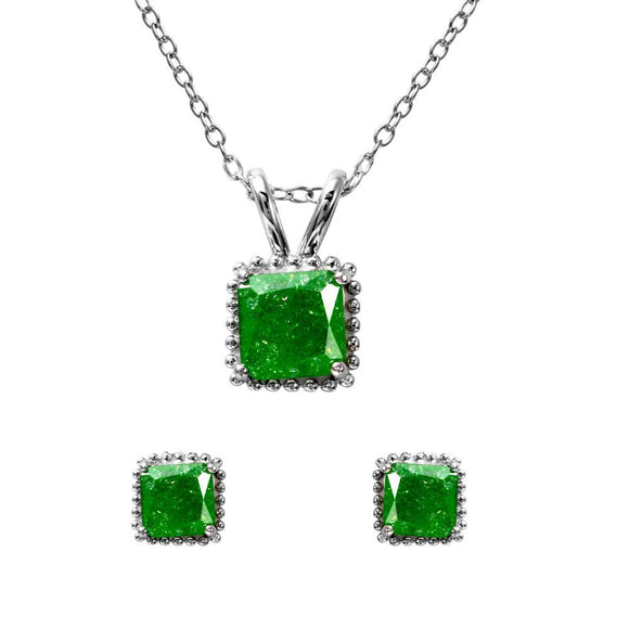 Square Green Opal Set