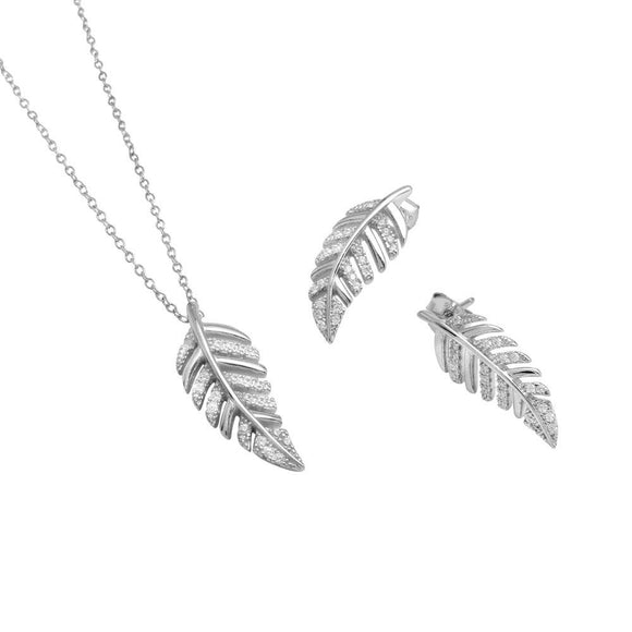 Outline Leaf with Cz Set