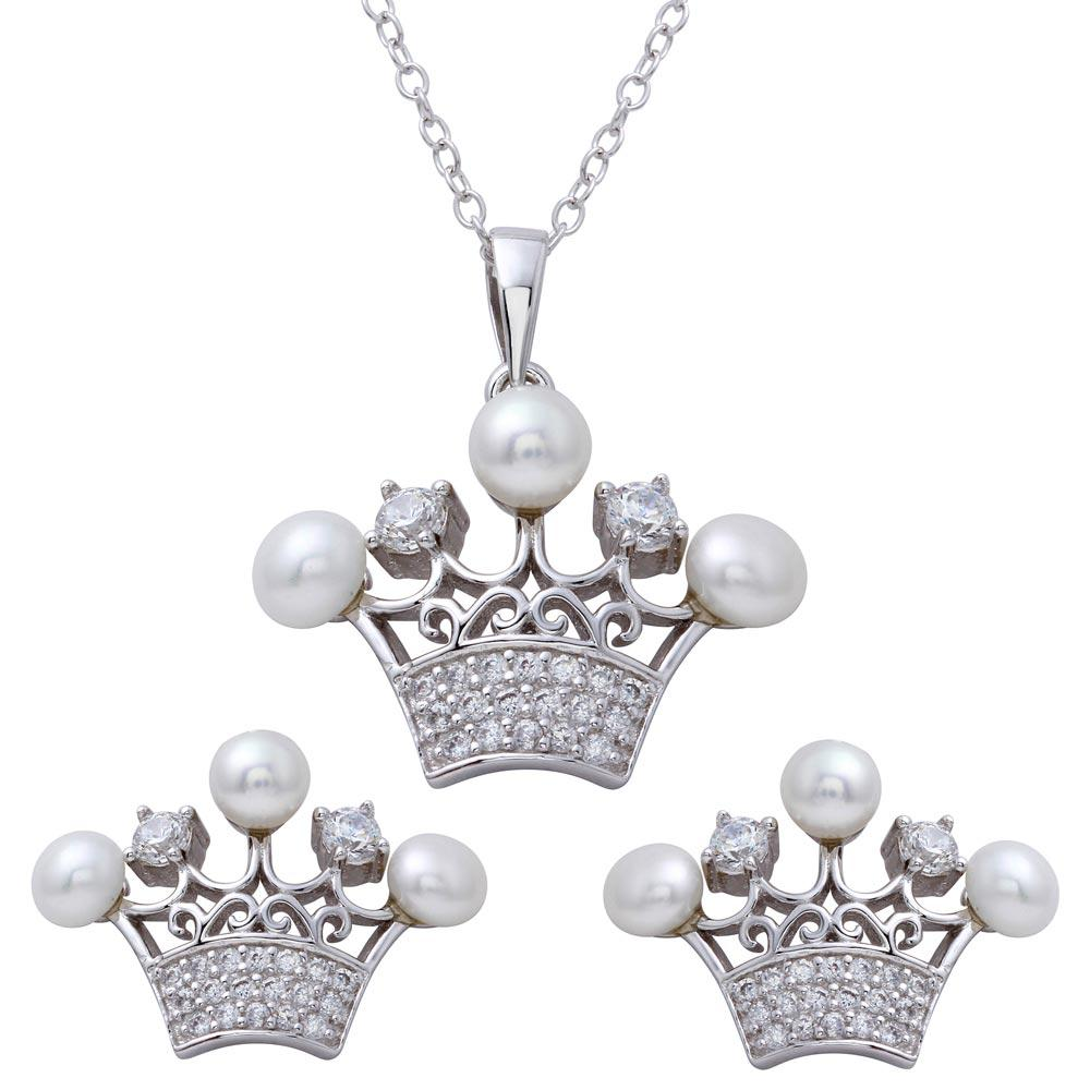 CZ Crown Pendant and Earrings Set