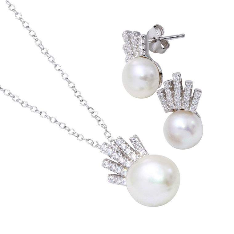 Synthetic Pearl with Cz Set
