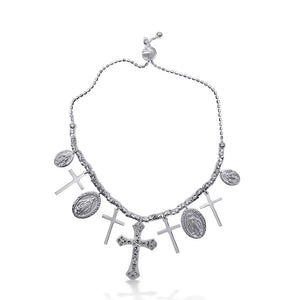 Cross and Medallion Charm Bracelet - Birmingham Jewelry