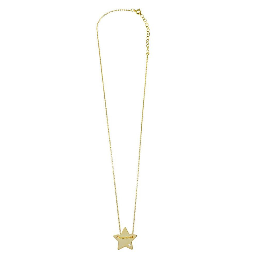 Star Shaped Necklace with CZ, Silver Necklace, Silver Jewelry - Birmingham Jewelry