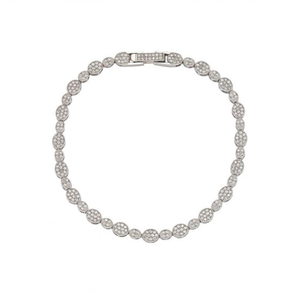 Circle and Marquis Clear Tennis Micro Pave CZ Bracelet - Birmingham Jewelry