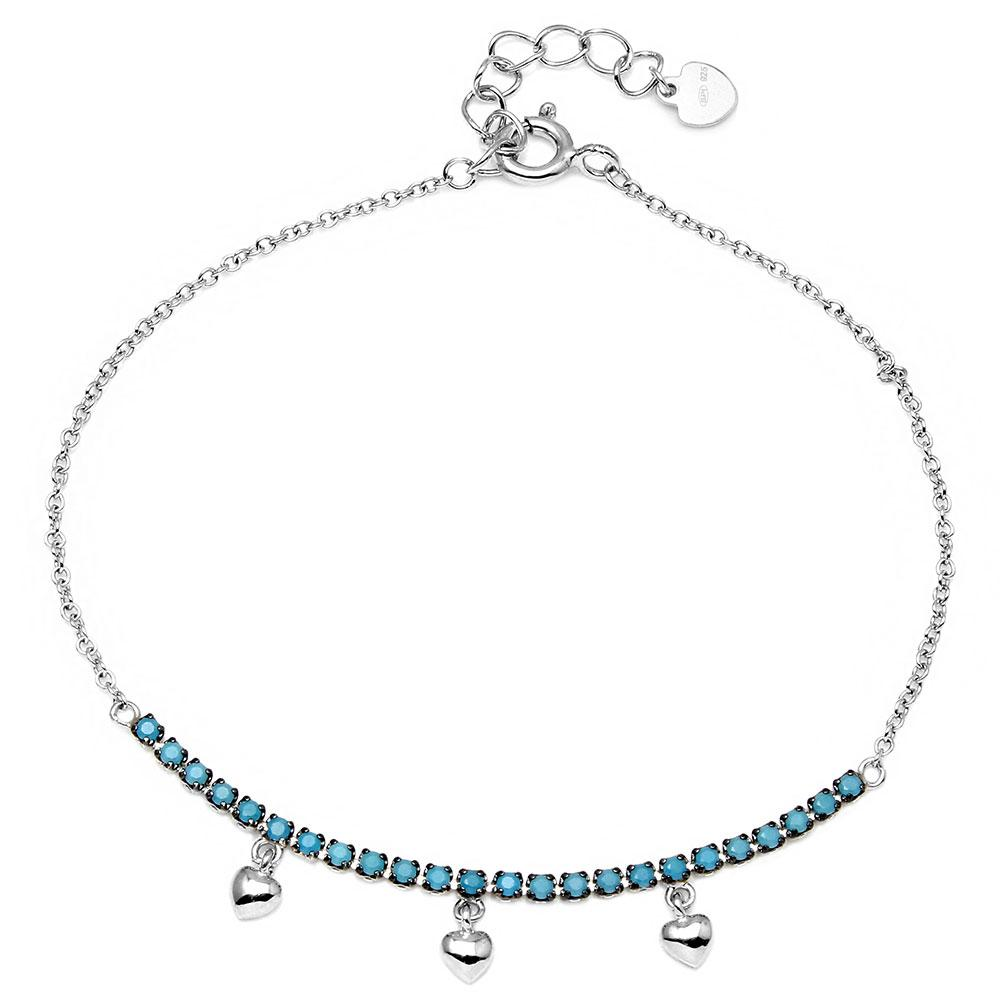 Turquoise Stones with Hanging Hearts Bracelet