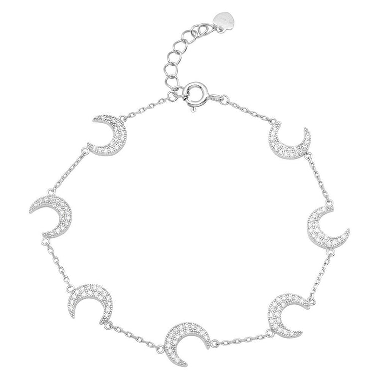 Multiple CZ Crescent Bracelet