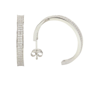 Semi Hoop Earrings with CZ