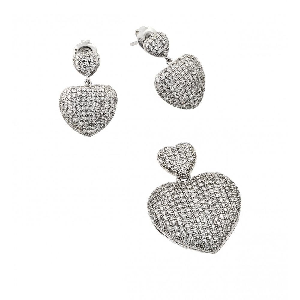 Clear Pave Heart Set - Birmingham Jewelry