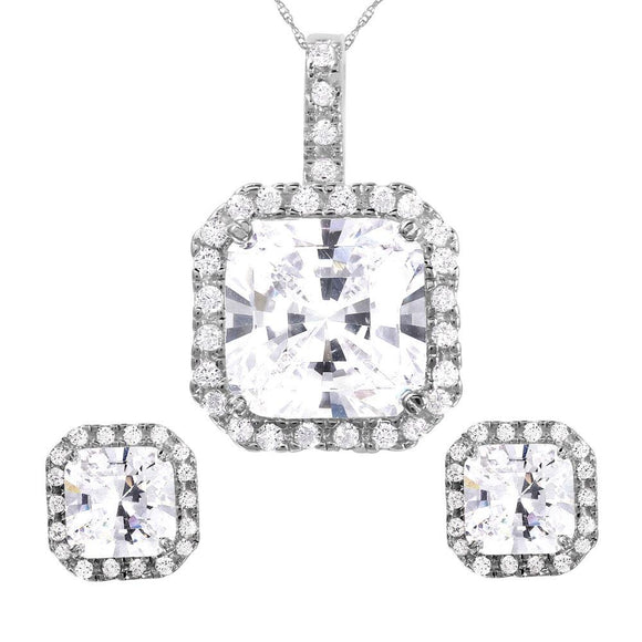 Square Clear Cz Set