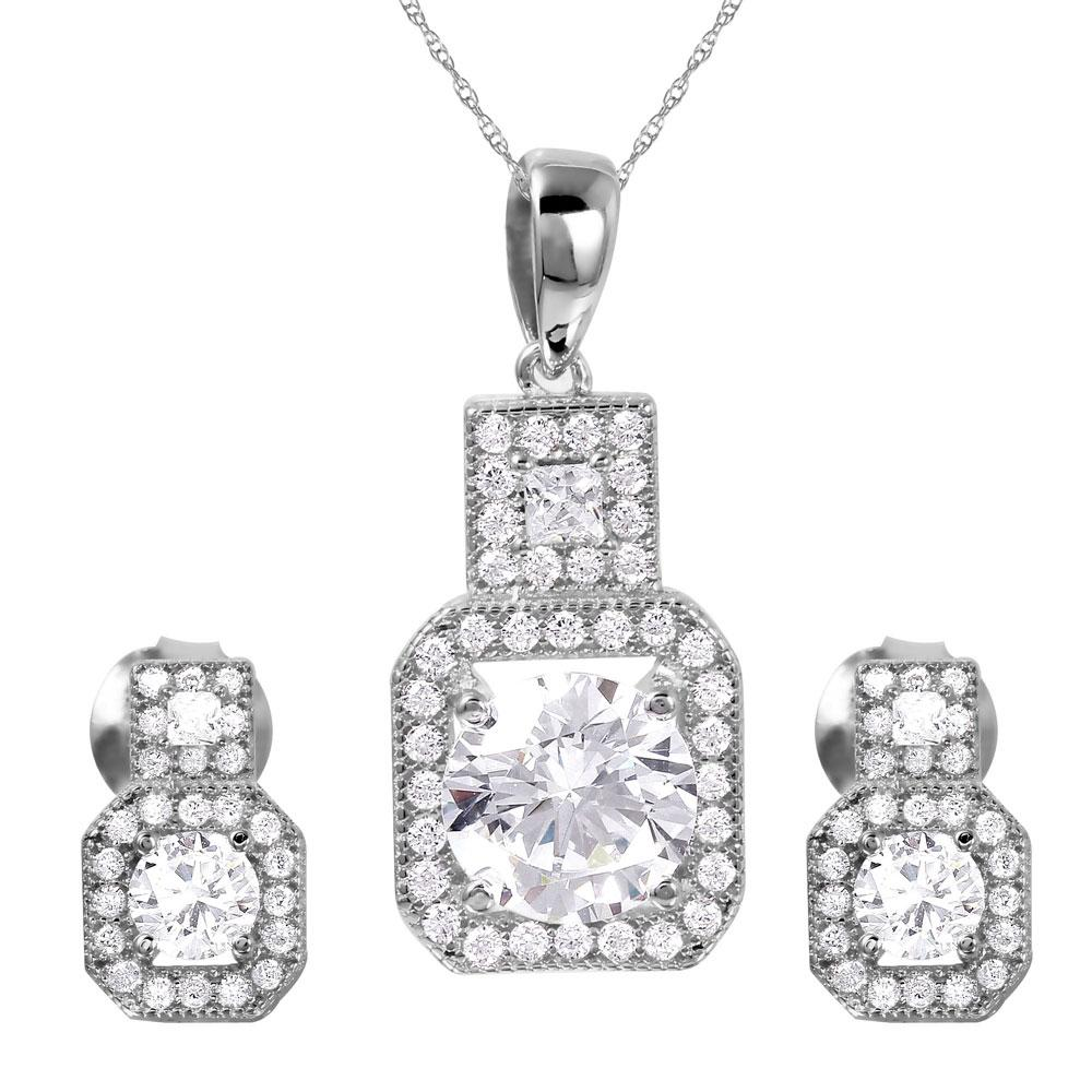 Thick Square Clear CZ Set