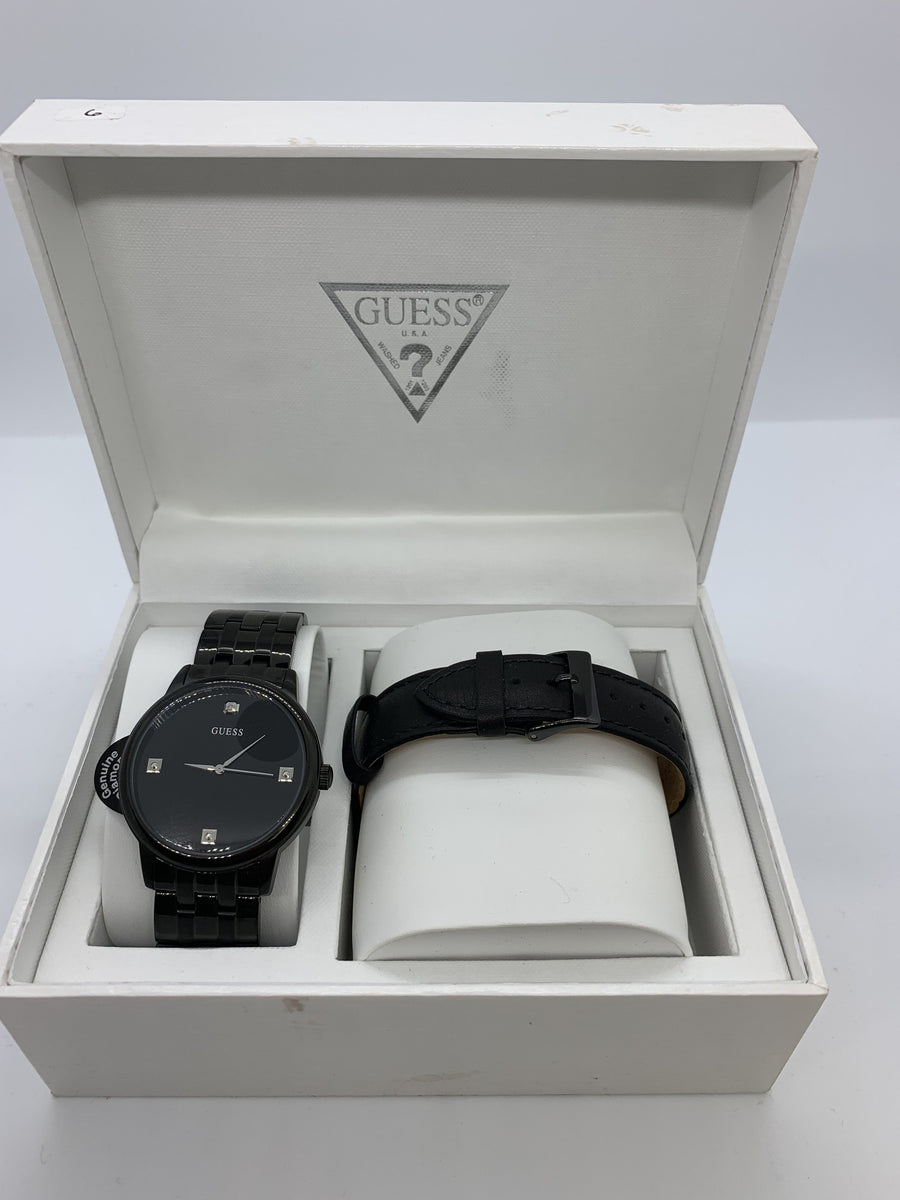 Men's Black Guess Diamond Watch