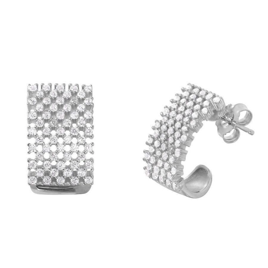 Thick Checkered CZ Semi-Huggies Earrings - Birmingham Jewelry