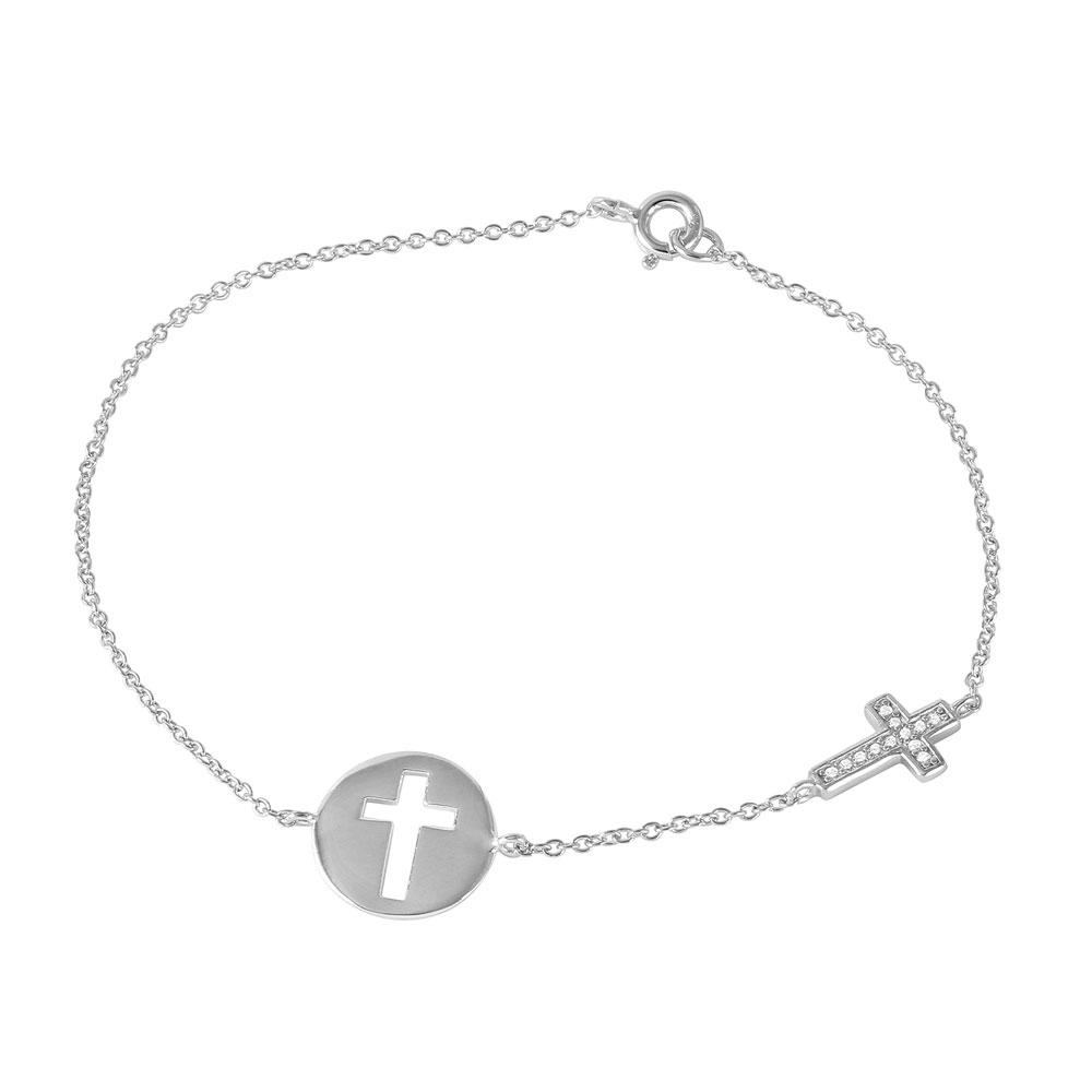 Cross And Disc Charm Bracelet