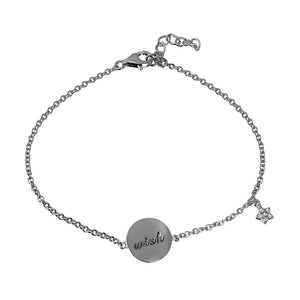 Bracelet With Engraved Disc And Dangle CZ Star - Birmingham Jewelry