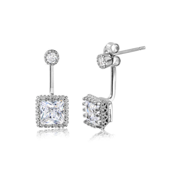 Hanging Square Crown Set Earrings