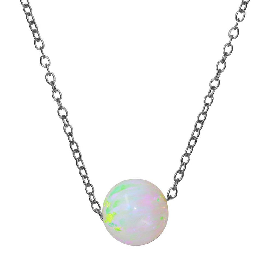 White Round Synthetic Opal Necklace, Silver Necklace, Silver Jewelry - Birmingham Jewelry