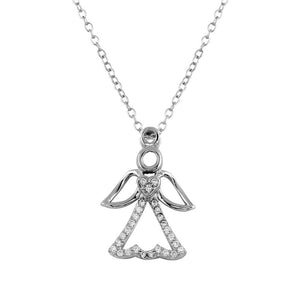Small Angel Heart Pendant with CZ, Silver Necklace, Silver Jewelry - Birmingham Jewelry