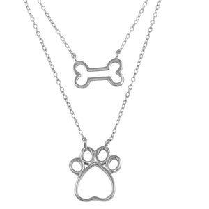Two Piece Dog Bone and Paw Necklace, Silver Necklace, Silver Jewelry - Birmingham Jewelry