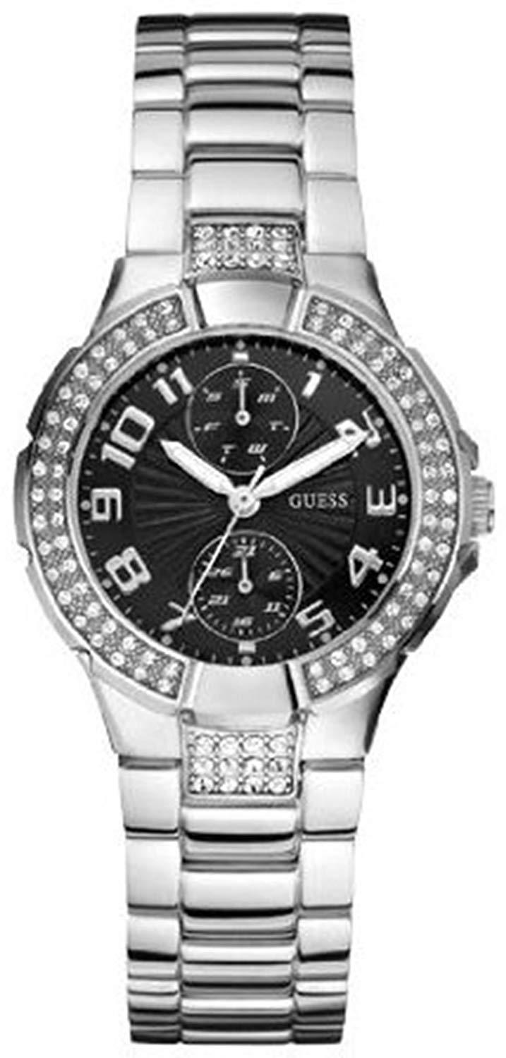 Women's Stainless-Steel Analog Quartz Watch with Black Dial
