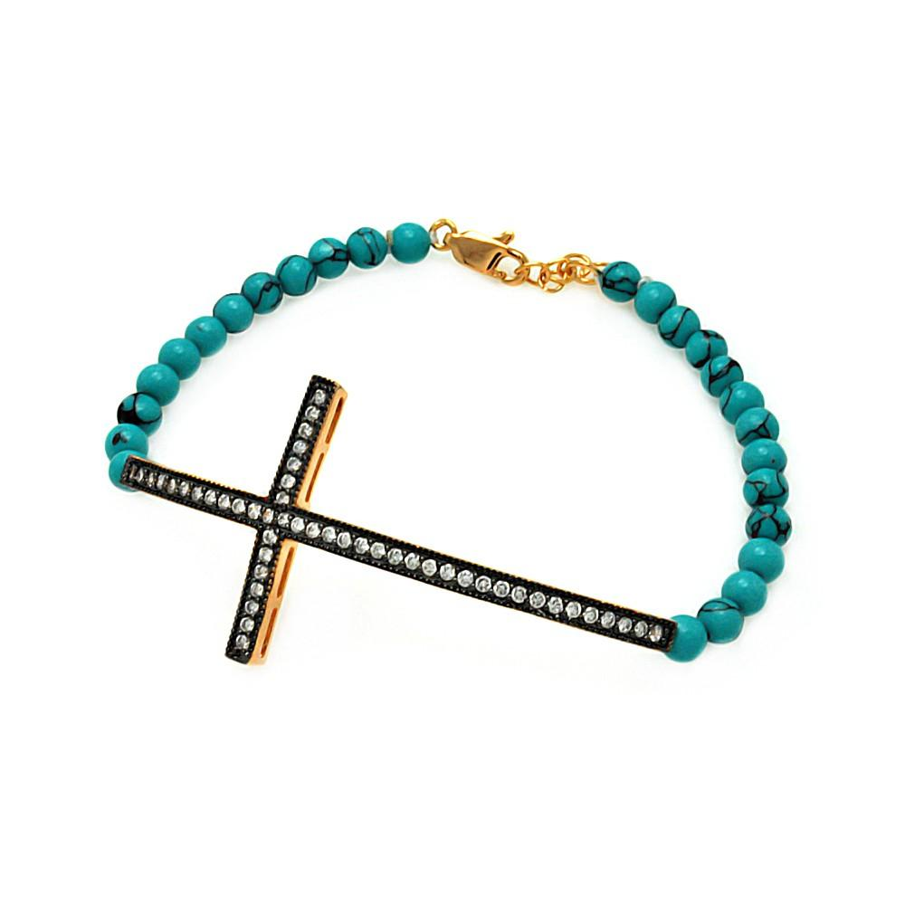 Sideways Cross CZ Turquoise Beads Bracelet - Birmingham Jewelry