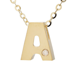 "Birmingham Jewelry - 14K Gold Initial ""A"" Necklace (Diamond) - Birmingham Jewelry"